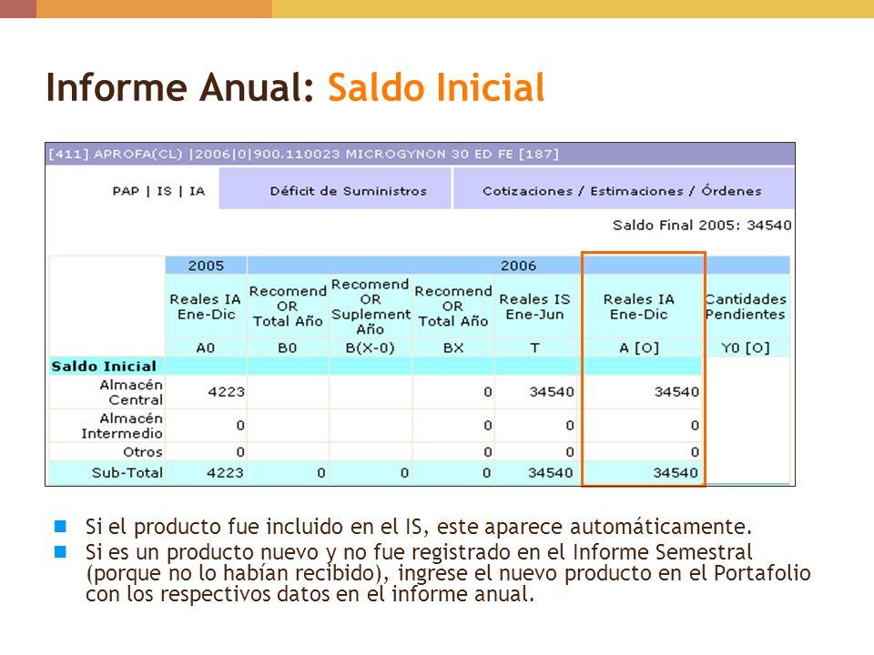 Informe Anual: Saldo Inicial Si el producto fue incluido en el IS, este aparece automáticamente. Si es un producto nuevo y no fue registrado en el Inf
