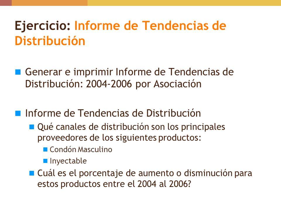 Ejercicio: Informe de Tendencias de Distribución Generar e imprimir Informe de Tendencias de Distribución: 2004-2006 por Asociación Informe de Tendenc