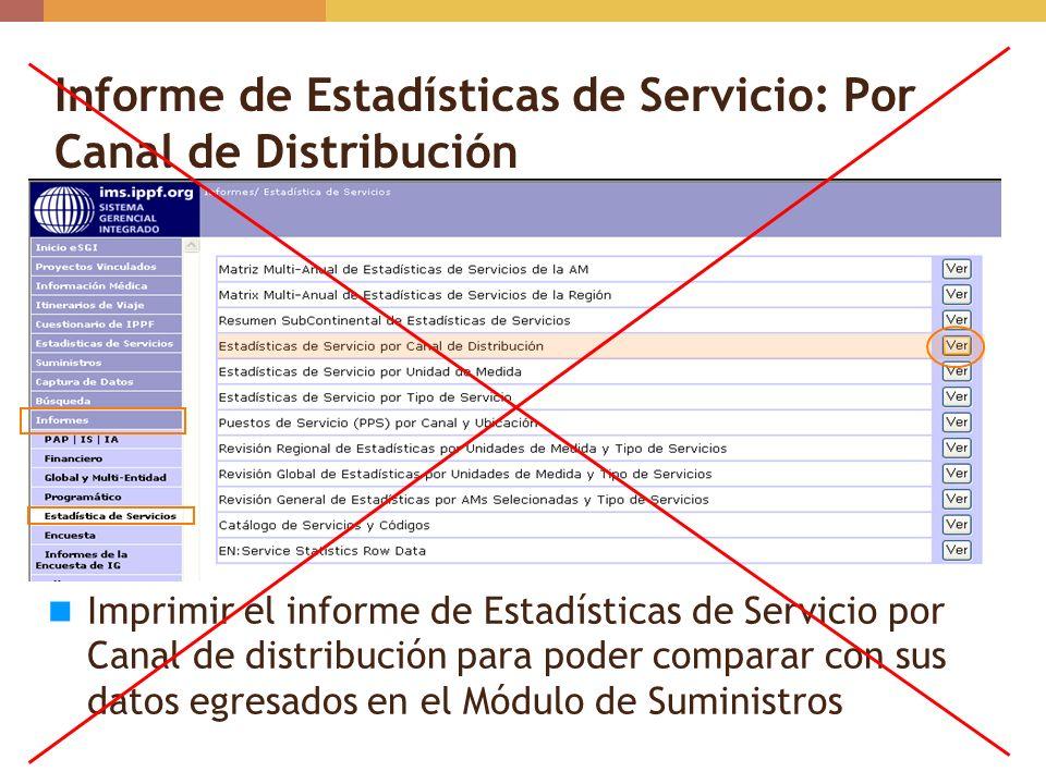 Informe de Estadísticas de Servicio: Por Canal de Distribución Imprimir el informe de Estadísticas de Servicio por Canal de distribución para poder co
