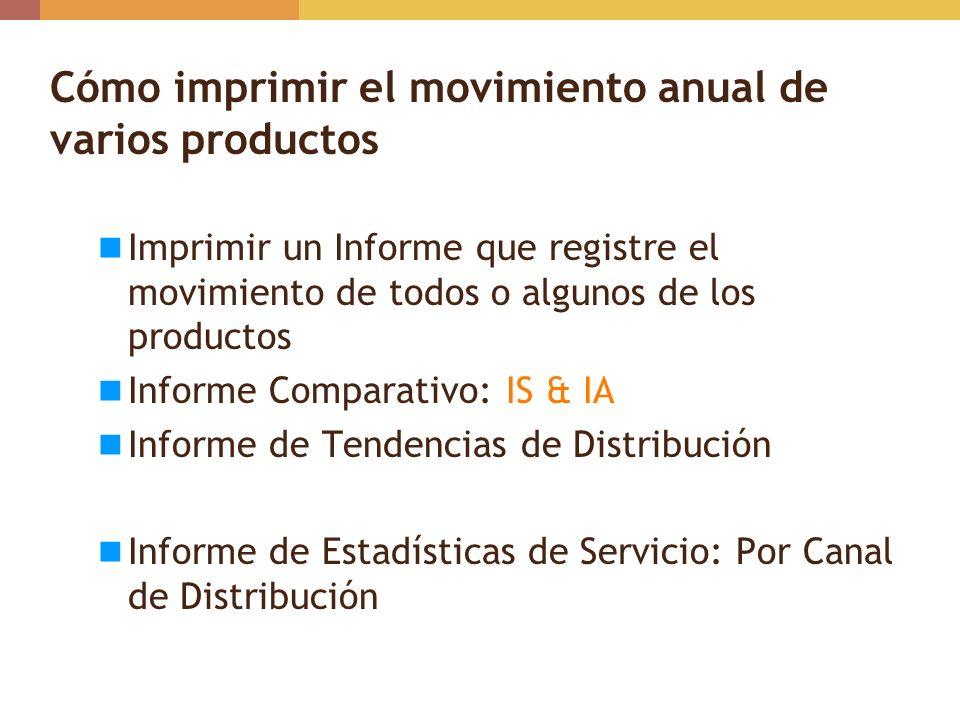 Cómo imprimir el movimiento anual de varios productos Imprimir un Informe que registre el movimiento de todos o algunos de los productos Informe Compa