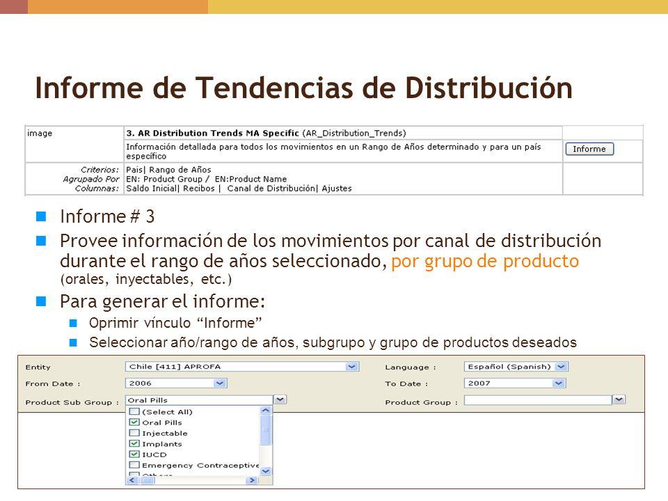 Informe de Tendencias de Distribución Informe # 3 Provee información de los movimientos por canal de distribución durante el rango de años seleccionad