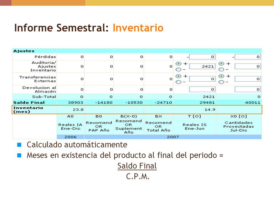 Informe Semestral: Inventario Calculado automáticamente Meses en existencia del producto al final del periodo = Saldo Final C.P.M.