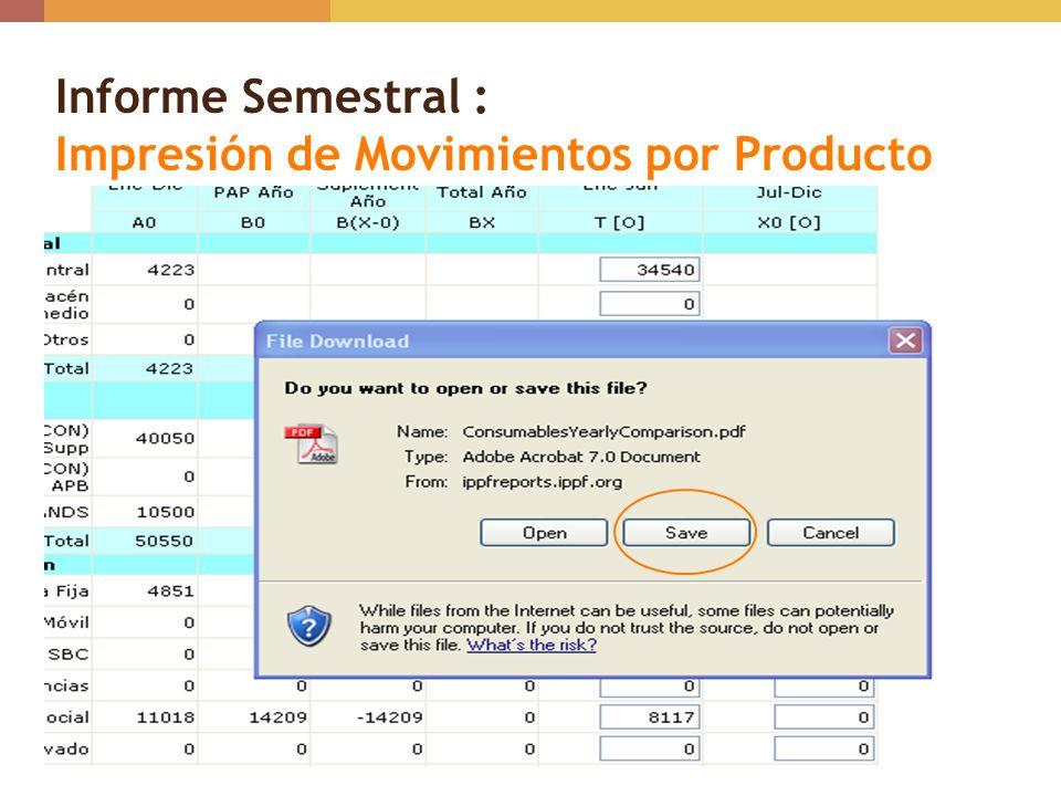 Informe Semestral : Impresión de Movimientos por Producto