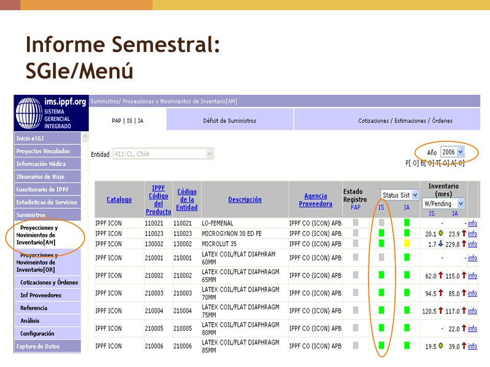 Informe Semestral: SGIe/Menú