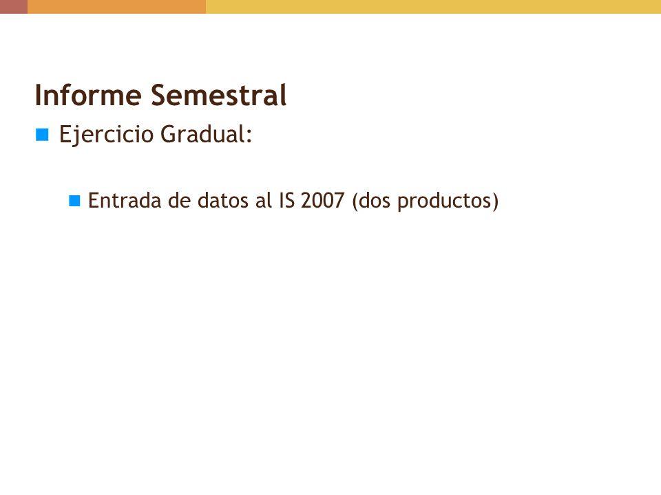 Informe Semestral: Saldo Final/Meses en Existencia Calculado automáticamente Saldo Final = Saldo Inicial + Recibos – Distribución +/- Ajustes