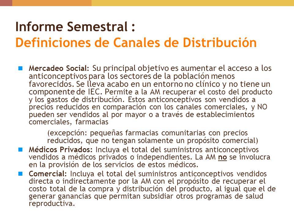 Informe Semestral : Definiciones de Canales de Distribución Gobierno – Incluya el total de suministros anticonceptivos distribuidos o entregados a los establecimientos del sector publico, como al Ministerio de Salud, al Seguro Social, a las Municipalidades, Hospitales Públicos y Centros de Salud.