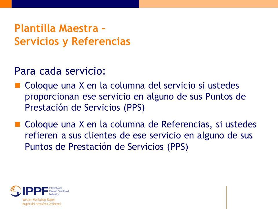 Plantilla Maestra – Servicios y Referencias Para cada servicio: Coloque una X en la columna del servicio si ustedes proporcionan ese servicio en algun
