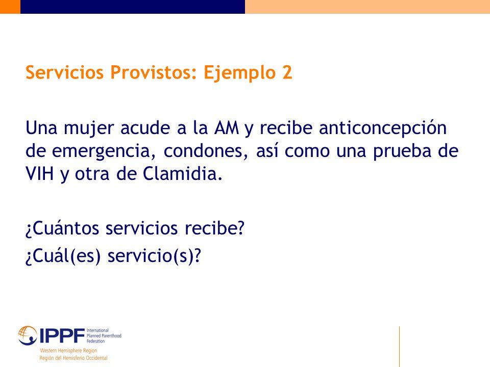 Servicios Provistos: Ejemplo 2 Una mujer acude a la AM y recibe anticoncepción de emergencia, condones, así como una prueba de VIH y otra de Clamidia.