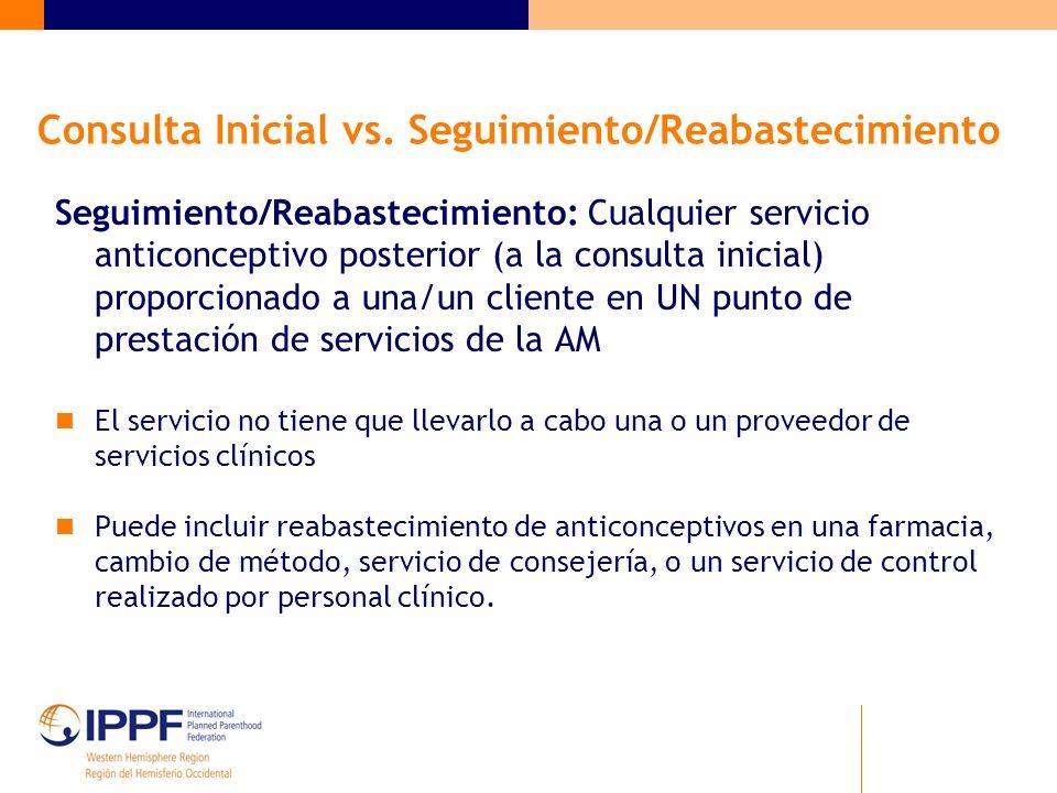 Consulta Inicial vs. Seguimiento/Reabastecimiento Seguimiento/Reabastecimiento: Cualquier servicio anticonceptivo posterior (a la consulta inicial) pr