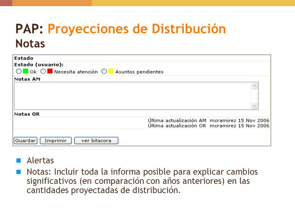 PAP: Proyecciones de Distribución Notas Alertas Notas: Incluir toda la informa posible para explicar cambios significativos (en comparación con años a