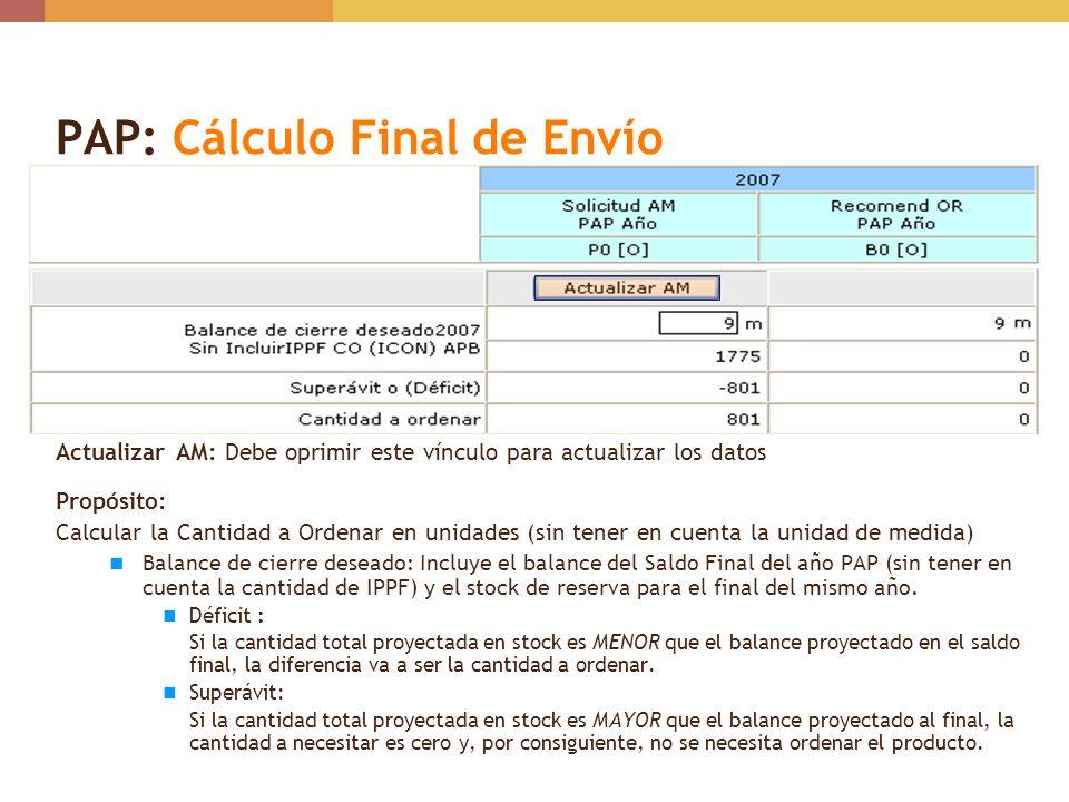 PAP: Cálculo Final de Envío Actualizar AM: Debe oprimir este vínculo para actualizar los datos Propósito: Calcular la Cantidad a Ordenar en unidades (