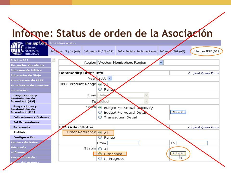 Informe: Status de orden de la Asociación