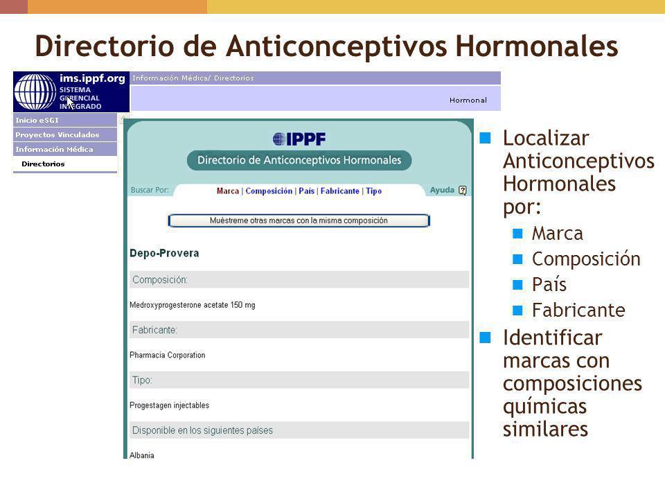 Directorio de Anticonceptivos Hormonales Localizar Anticonceptivos Hormonales por: Marca Composición País Fabricante Identificar marcas con composicio