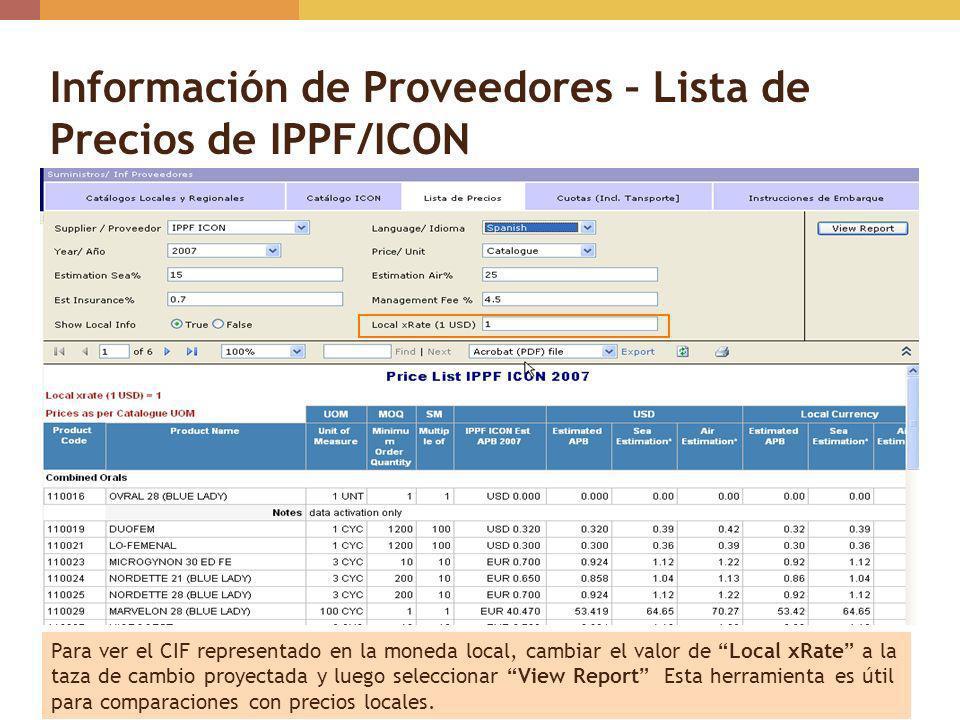 Información de Proveedores – Lista de Precios de IPPF/ICON Para ver el CIF representado en la moneda local, cambiar el valor de Local xRate a la taza