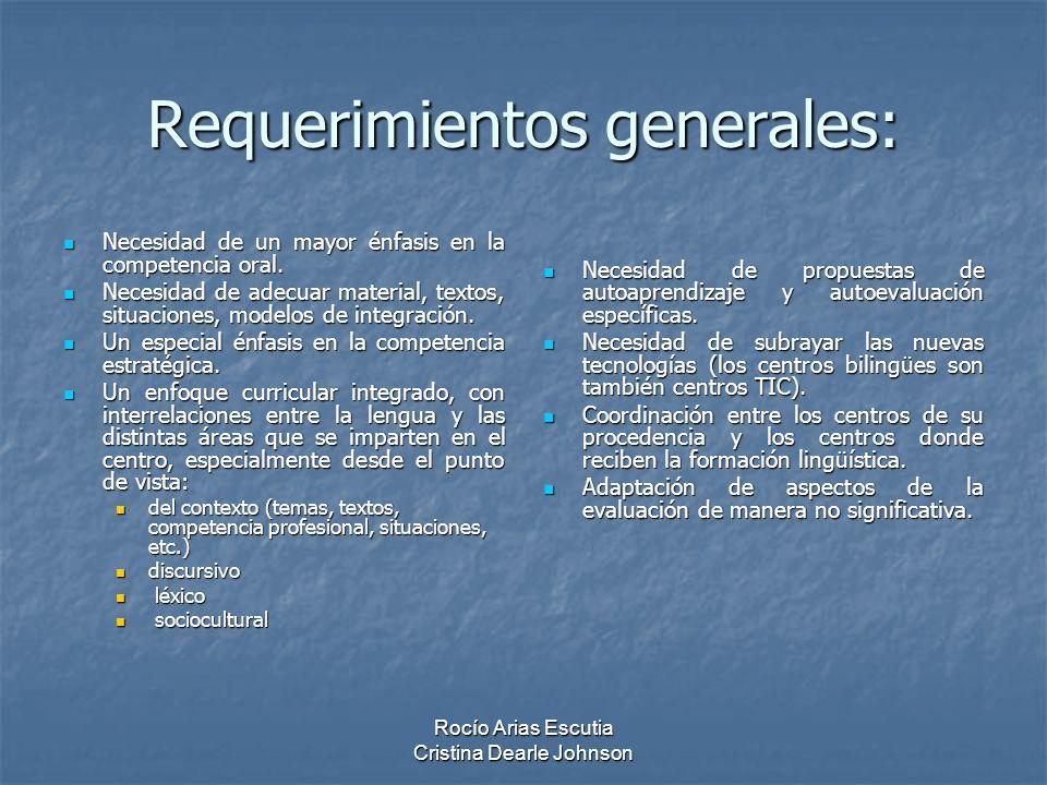Requerimientos generales: Necesidad de un mayor énfasis en la competencia oral.