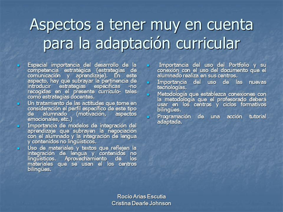 Aspectos a tener muy en cuenta para la adaptación curricular Especial importancia del desarrollo de la competencia estratégica (estrategias de comunicación y aprendizaje).