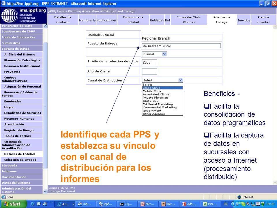 Identifique cada PPS y establezca su vínculo con el canal de distribución para los informes Beneficios - Facilita la consolidación de datos programáticos Facilita la captura de datos en sucursales con acceso a Internet (procesamiento distribuido)