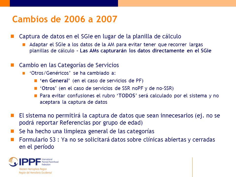 Cambios de 2006 a 2007 Captura de datos en el SGIe en lugar de la planilla de cálculo Adaptar el SGIe a los datos de la AM para evitar tener que recorrer largas planillas de cálculo – Las AMs capturarán los datos directamente en el SGIe Cambio en las Categorías de Servicios Otros/Genéricos se ha cambiado a: en General (en el caso de servicios de PF) Otros (en el caso de servicios de SSR noPF y de no-SSR) Para evitar confusiones el rubro TODOS será calculado por el sistema y no aceptara la captura de datos El sistema no permitirá la captura de datos que sean innecesarios (ej.
