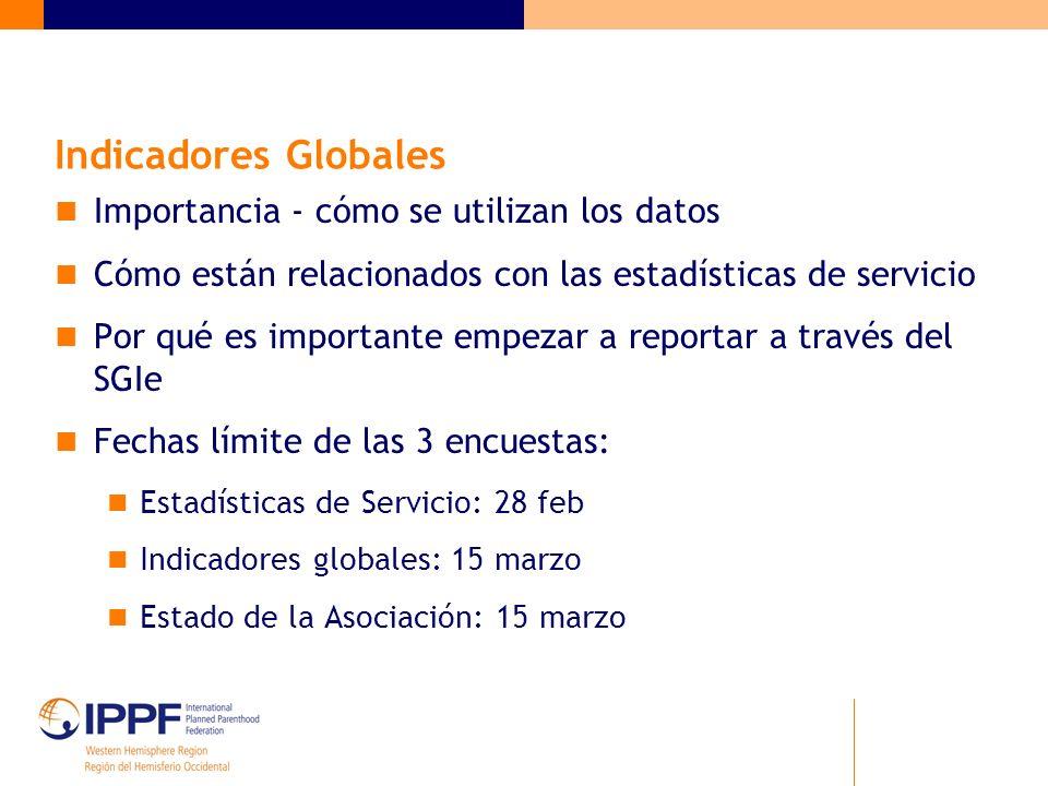 Indicadores Globales Importancia - cómo se utilizan los datos Cómo están relacionados con las estadísticas de servicio Por qué es importante empezar a reportar a través del SGIe Fechas límite de las 3 encuestas: Estadísticas de Servicio: 28 feb Indicadores globales: 15 marzo Estado de la Asociación: 15 marzo
