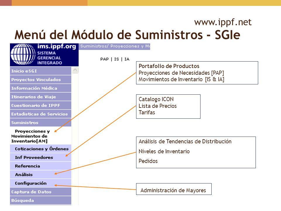 Menú del Módulo de Suministros - SGIe Portafolio de Productos Proyecciones de Necesidades [PAP] Movimientos de Inventario [IS & IA] Catalogo ICON List