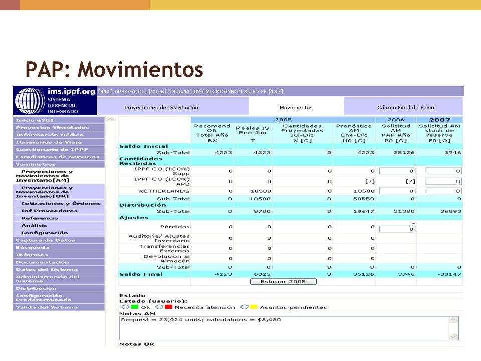 PAP: Movimientos