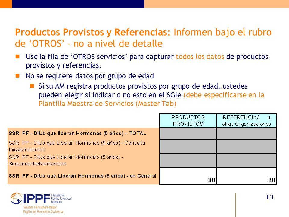 13 Productos Provistos y Referencias: Informen bajo el rubro de OTROS – no a nivel de detalle Use la fila de OTROS servicios para capturar todos los datos de productos provistos y referencias.