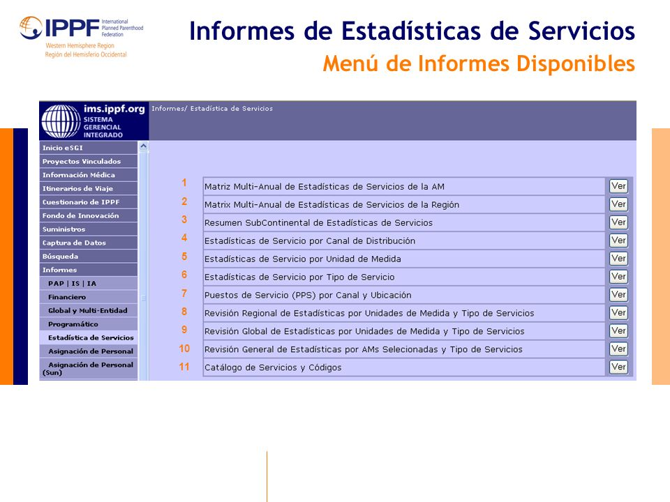 Informes de Estadísticas de Servicios Menú de Informes Disponibles 1 2 3 4 5 6 7 8 9 10 11