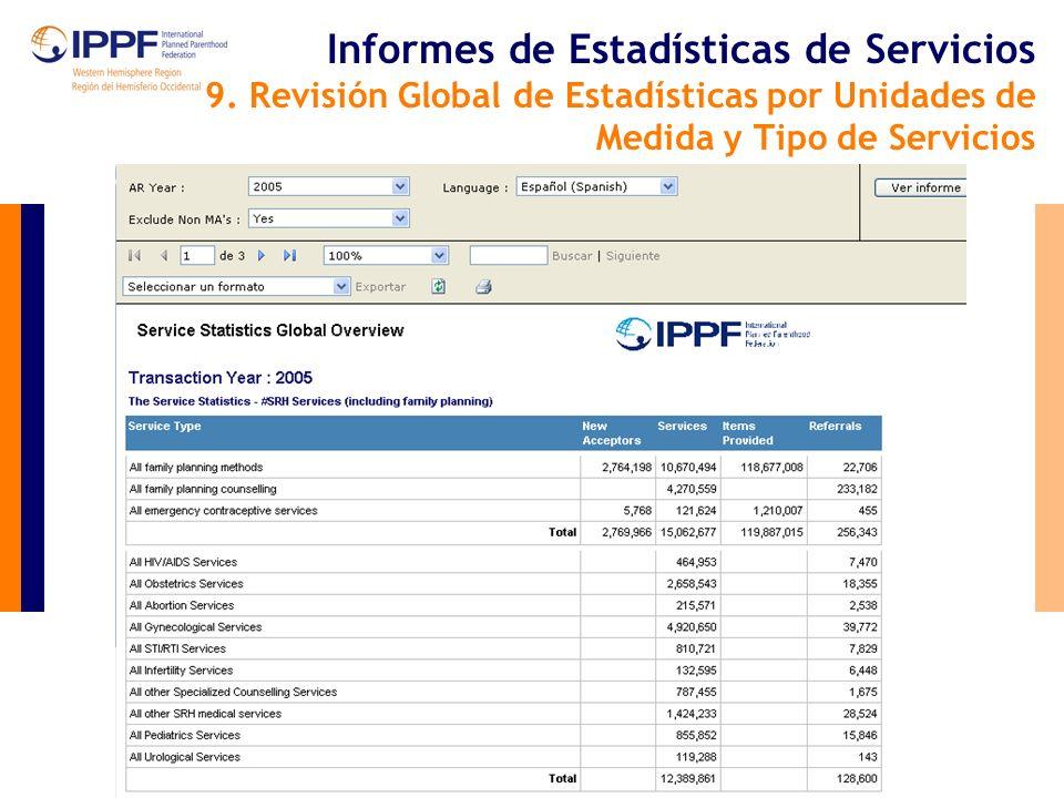 Informes de Estadísticas de Servicios 9.