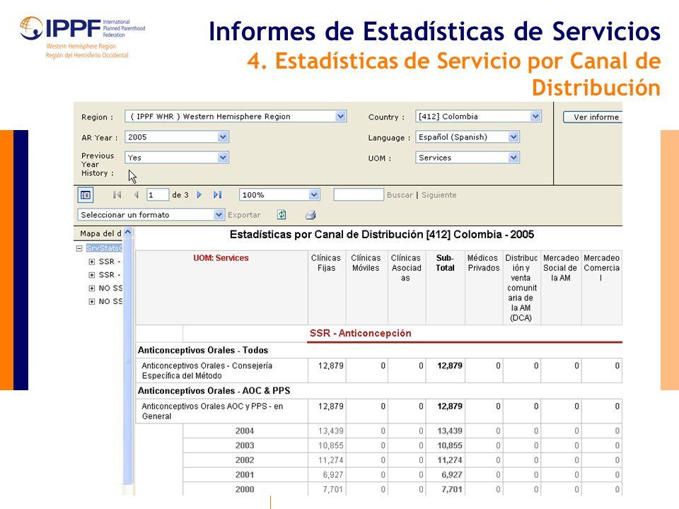 Informes de Estadísticas de Servicios 4. Estadísticas de Servicio por Canal de Distribución