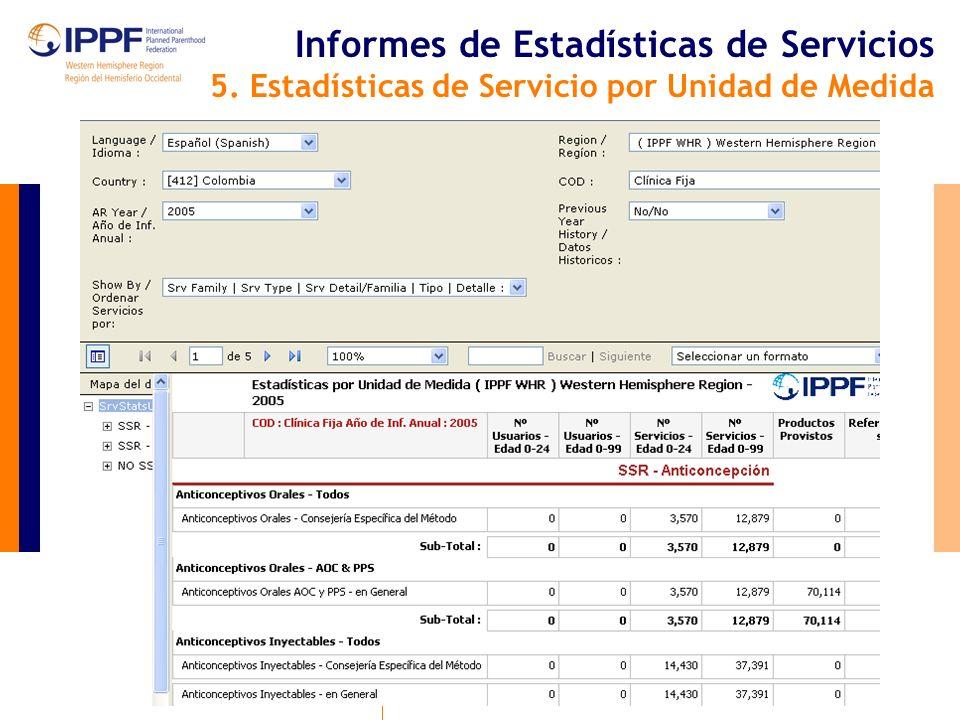 Informes de Estadísticas de Servicios 5. Estadísticas de Servicio por Unidad de Medida