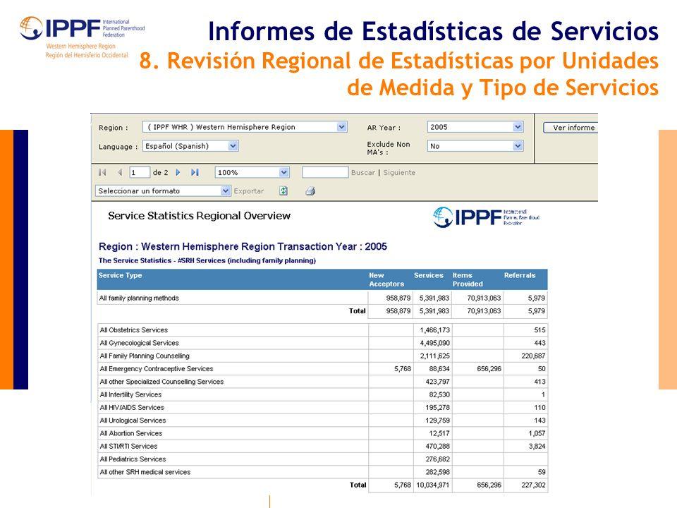 Informes de Estadísticas de Servicios 8.