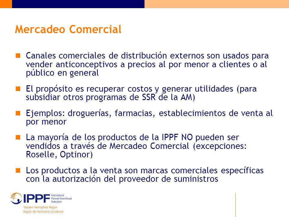 Mercadeo Comercial Canales comerciales de distribución externos son usados para vender anticonceptivos a precios al por menor a clientes o al público