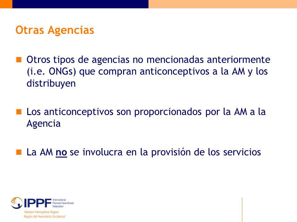 Otras Agencias Otros tipos de agencias no mencionadas anteriormente (i.e. ONGs) que compran anticonceptivos a la AM y los distribuyen Los anticoncepti