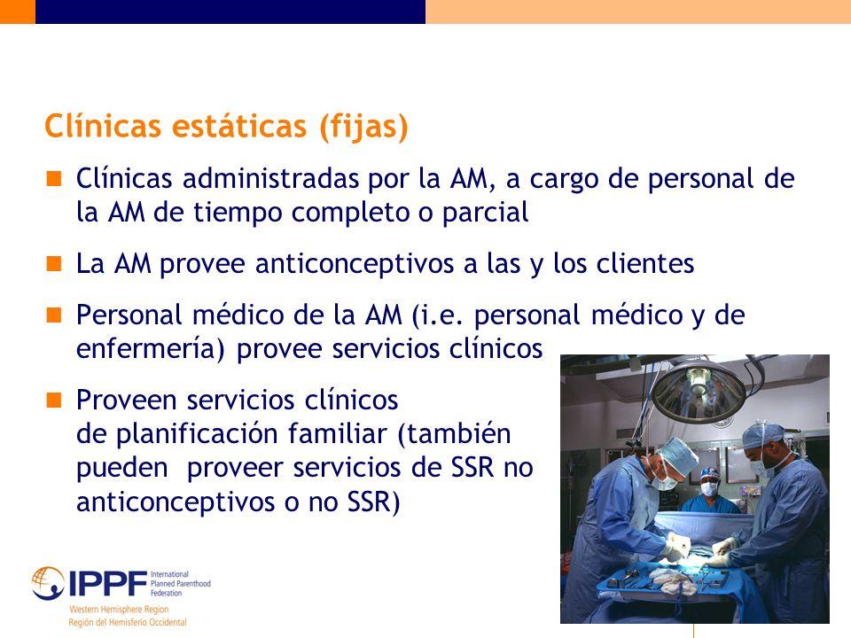 Clínicas estáticas (fijas) Clínicas administradas por la AM, a cargo de personal de la AM de tiempo completo o parcial La AM provee anticonceptivos a