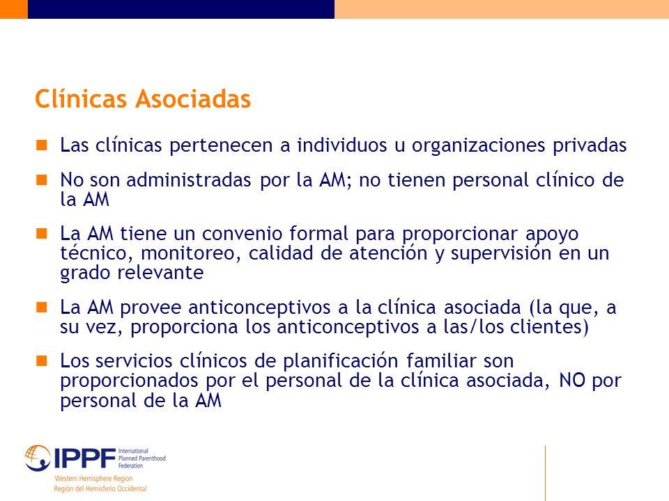 Clínicas Asociadas Las clínicas pertenecen a individuos u organizaciones privadas No son administradas por la AM; no tienen personal clínico de la AM