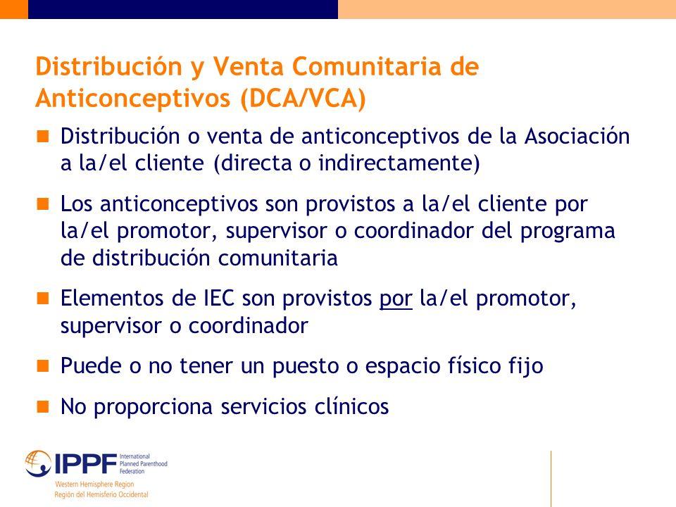 Distribución y Venta Comunitaria de Anticonceptivos (DCA/VCA) Distribución o venta de anticonceptivos de la Asociación a la/el cliente (directa o indi
