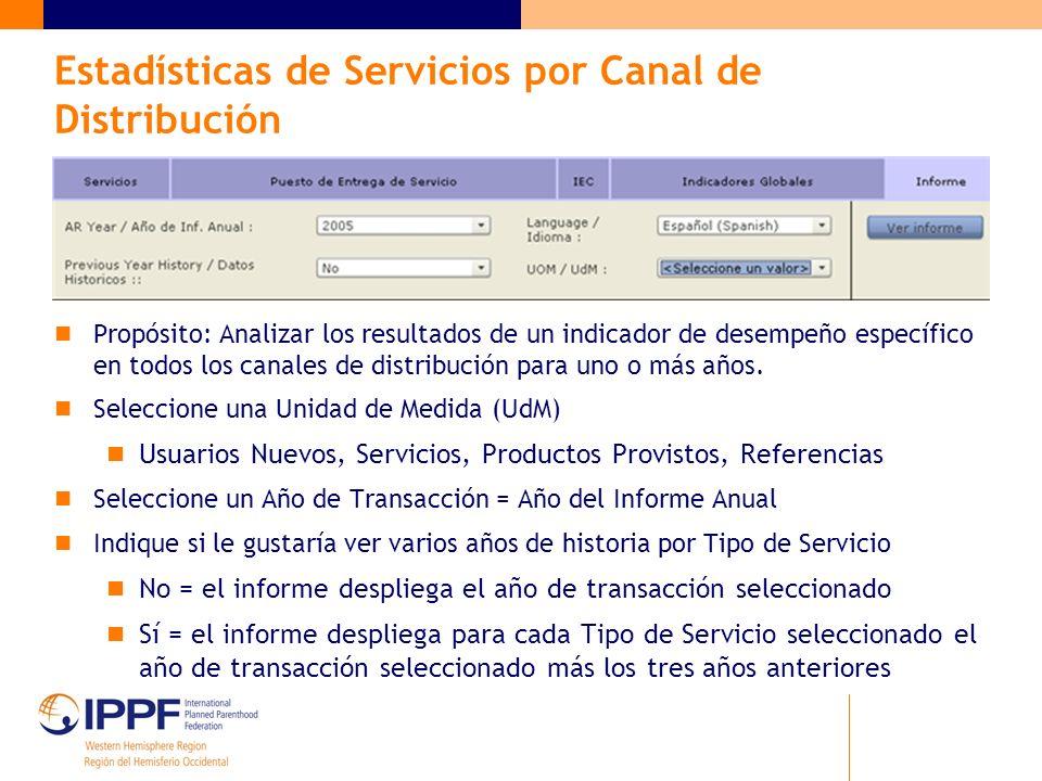 Estadísticas de Servicios por Canal de Distribución Propósito: Analizar los resultados de un indicador de desempeño específico en todos los canales de distribución para uno o más años.