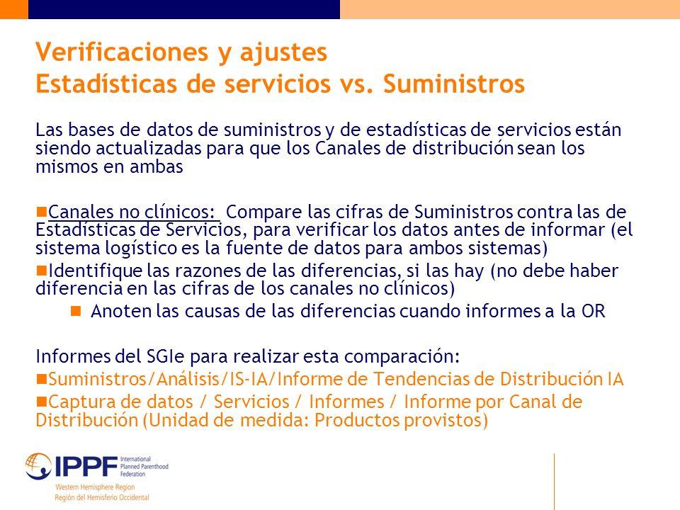 Verificaciones y ajustes Estadísticas de servicios vs. Suministros Las bases de datos de suministros y de estadísticas de servicios están siendo actua