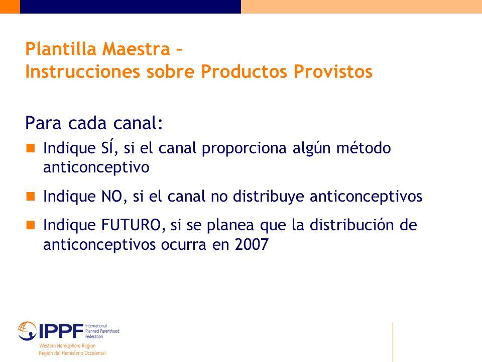 Plantilla Maestra – Instrucciones sobre Productos Provistos Para cada canal: Indique SÍ, si el canal proporciona algún método anticonceptivo Indique N