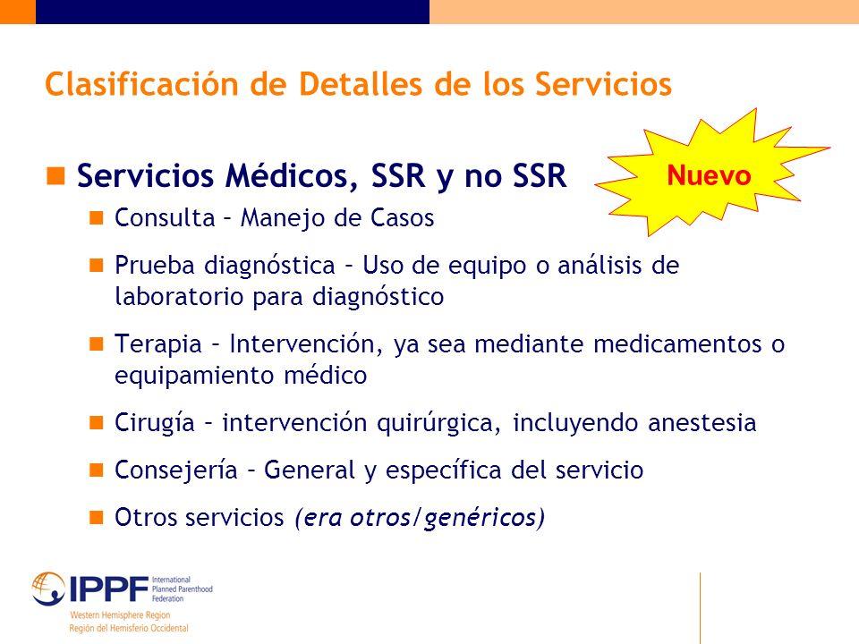 Servicios Médicos, SSR y no SSR Consulta – Manejo de Casos Prueba diagnóstica – Uso de equipo o análisis de laboratorio para diagnóstico Terapia – Int