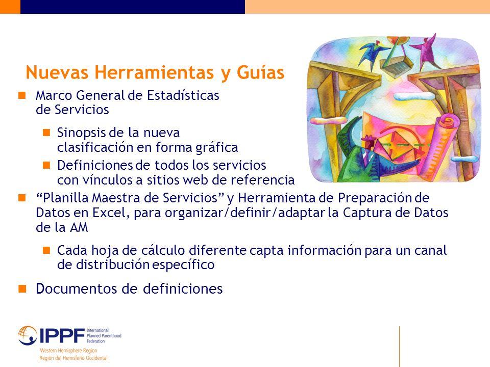Nuevas Herramientas y Guías Marco General de Estadísticas de Servicios Sinopsis de la nueva clasificación en forma gráfica Definiciones de todos los s