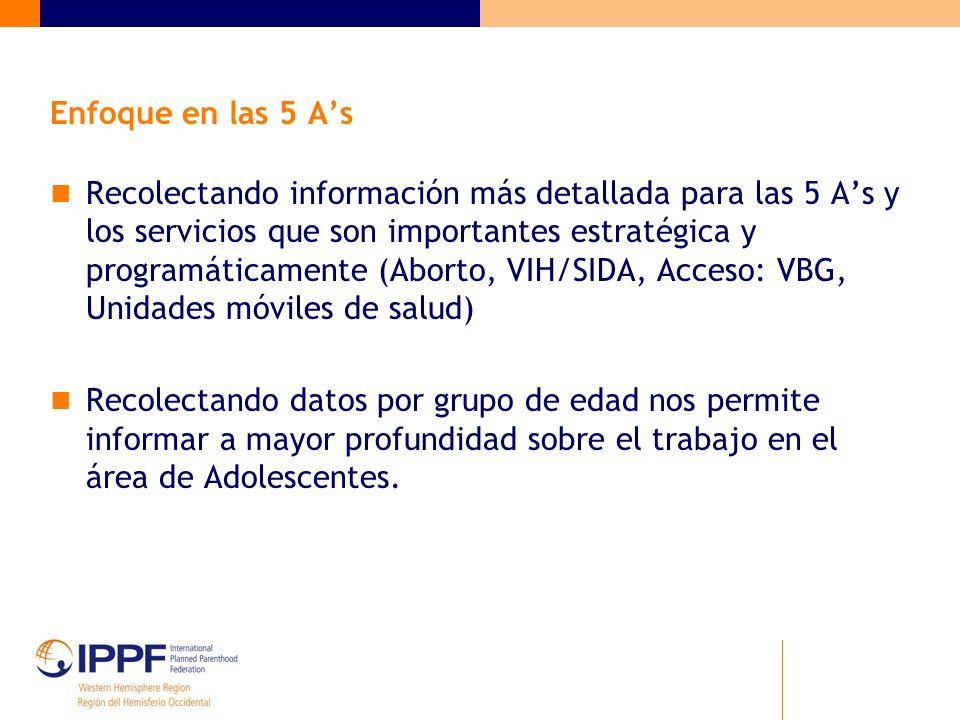 Enfoque en las 5 As Recolectando información más detallada para las 5 As y los servicios que son importantes estratégica y programáticamente (Aborto,