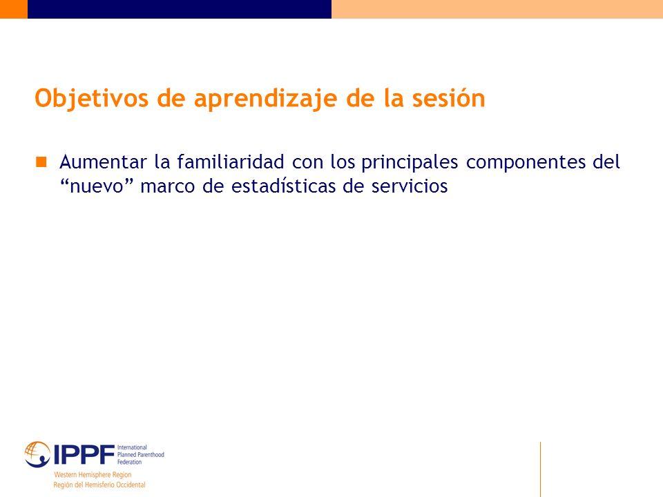 Objetivos de aprendizaje de la sesión Aumentar la familiaridad con los principales componentes del nuevo marco de estadísticas de servicios