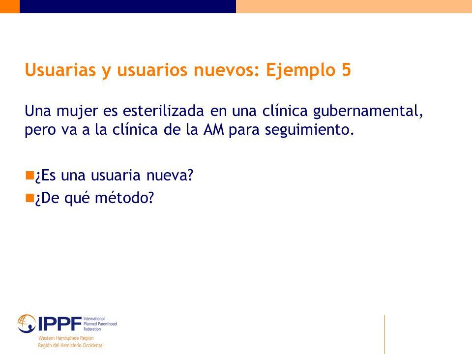 Usuarias y usuarios nuevos: Ejemplo 5 Una mujer es esterilizada en una clínica gubernamental, pero va a la clínica de la AM para seguimiento.
