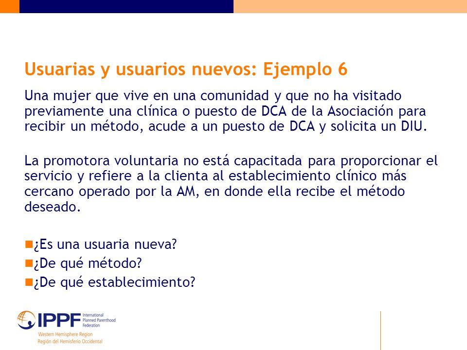 Usuarias y usuarios nuevos: Ejemplo 6 Una mujer que vive en una comunidad y que no ha visitado previamente una clínica o puesto de DCA de la Asociación para recibir un método, acude a un puesto de DCA y solicita un DIU.