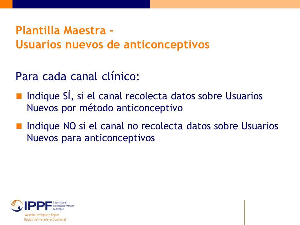 Plantilla Maestra – Usuarios nuevos de anticonceptivos Para cada canal clínico: Indique SÍ, si el canal recolecta datos sobre Usuarios Nuevos por méto