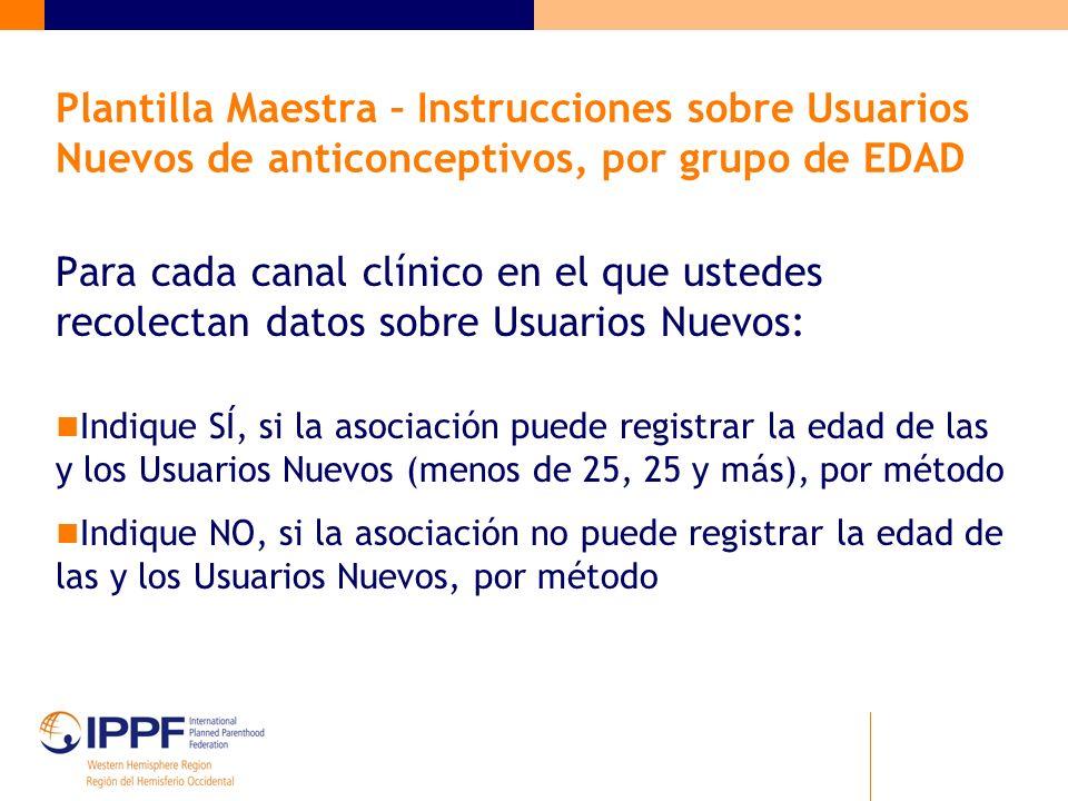 Plantilla Maestra – Instrucciones sobre Usuarios Nuevos de anticonceptivos, por grupo de EDAD Para cada canal clínico en el que ustedes recolectan dat