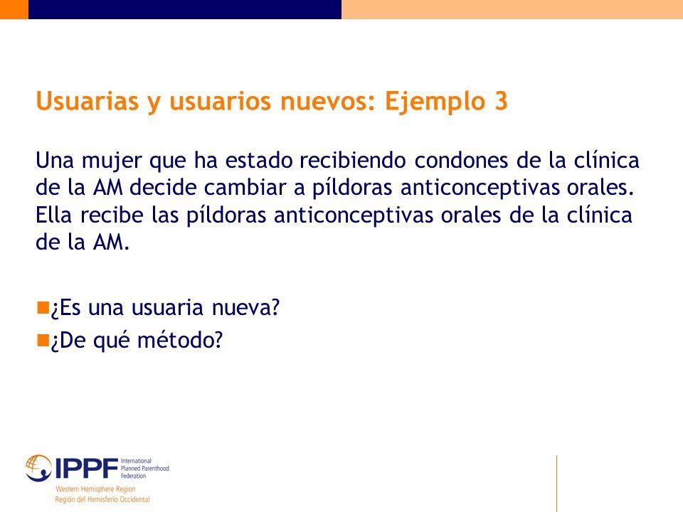 Usuarias y usuarios nuevos: Ejemplo 3 Una mujer que ha estado recibiendo condones de la clínica de la AM decide cambiar a píldoras anticonceptivas ora