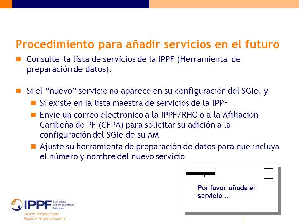 Procedimiento para añadir servicios en el futuro Consulte la lista de servicios de la IPPF (Herramienta de preparación de datos).