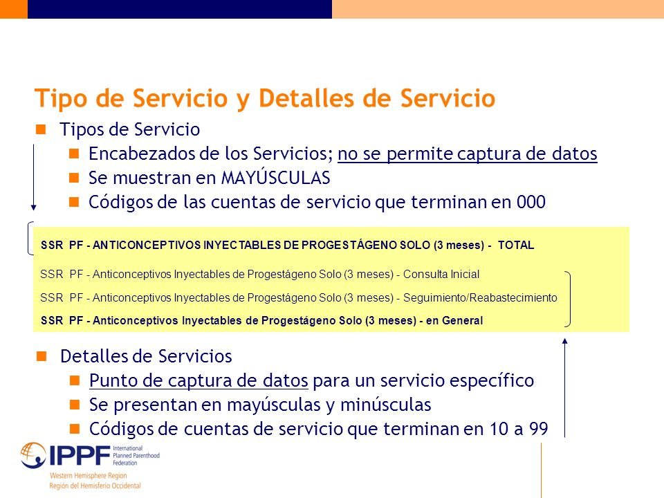 Tipo de Servicio y Detalles de Servicio Tipos de Servicio Encabezados de los Servicios; no se permite captura de datos Se muestran en MAYÚSCULAS Códigos de las cuentas de servicio que terminan en 000 Detalles de Servicios Punto de captura de datos para un servicio específico Se presentan en mayúsculas y minúsculas Códigos de cuentas de servicio que terminan en 10 a 99 SSR PF - ANTICONCEPTIVOS INYECTABLES DE PROGESTÁGENO SOLO (3 meses) - TOTAL SSR PF - Anticonceptivos Inyectables de Progestágeno Solo (3 meses) - Consulta Inicial SSR PF - Anticonceptivos Inyectables de Progestágeno Solo (3 meses) - Seguimiento/Reabastecimiento SSR PF - Anticonceptivos Inyectables de Progestágeno Solo (3 meses) - en General